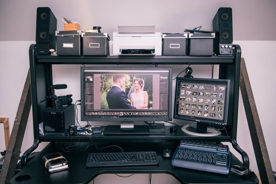 Wedding photographer workstation